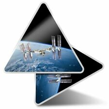 2 x Triangle Stickers 10 cm - International Space Station Earth  #21720