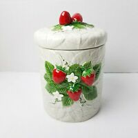 Vintage 1981 Sears Roebuck & Co Strawberry Ceramic Canister Cookie Jar Japan 9""