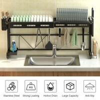 Dish Rack Over Sink Drying Drainer Large Adjustable 60-96cm Kitchen Holder Shlef