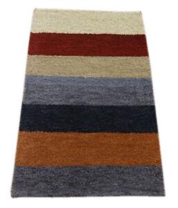 Gabbeh Teppich 56x88 cm Handgeknüpft  ~ 100% Wolle ~ Grau Rot Beige  M33
