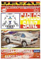 DECAL AUDI QUATTRO S1 AZUL CARLOS SAINZ CARRERA CAMPEONES BARCELONA 1990 (01)