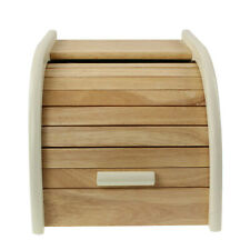 Cream Rubberwood Roll Top Wooden Bread Bin Kitchen Loaf Storage Box Container