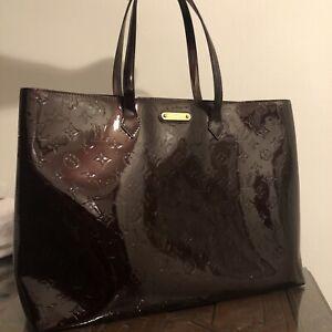 LOUIS VUITTON Wilshire GM Tote Bag Monogram Vernis Amarante Authentic