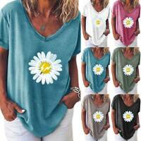 Womens Summer Daisy Print T-Shirt Tops Ladies Casual Blouse Loose Fit Tee Shirts