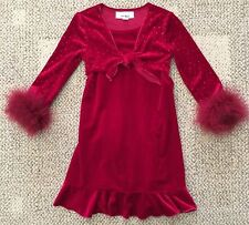 Pre-Owned Girls Size 4 Amy Byer Red Velvet Dress Long Sleeve Christmas Holiday