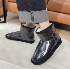 Womens Waterpoof Transparent Snow Boots Winter Outdoor Fleece Lined Shoes Feng8