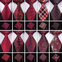 25 Colors Burgundy Mens Silk Tie Set Paisley Solid Striped Red Wedding Necktie