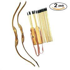 Best Adventure Awaits 2 Pack Handmade WoodenBow and Arrow New Set 20 Wood Arrows