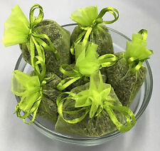 Set of 6 Lavender Sachets made with Lime Organza Bags