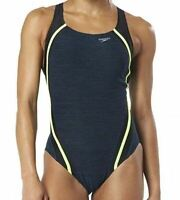 NWT Speedo Womens Blue Green Quantum Heathered One-Piece Swimsuit Size 14