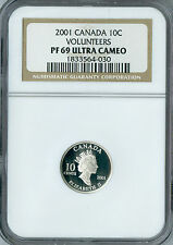 2001 CANADA SILVER 10 CENTS VOLUNTEERS NGC PF-69 UCAM FINEST GRADE .