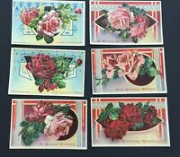 6 Victorian postcards vintage roses Germany 1912 Heymann birthday embossed