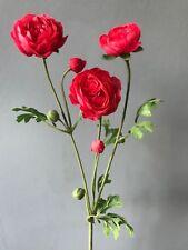 Seda de Imitación Rosa/Rojo Ranunculus Spray, tallo de flores silvestres artificial realista