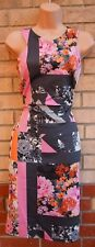 NEXT PINK BLACK ORANGE FLORAL GREY ABSTRACT BODYCON BANDAGE PENCIL DRESS 12 M