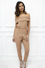 UK New  Off Shoulder Beige Bardot Long Skinny Jumpsuit Glamzam Party Sexy Club