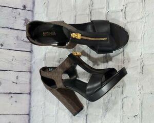 Michael Kors T-Strap Monogram Block Heels Leather Black WOMENS SIZE 9