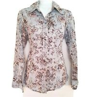 Coldwater Creek Womens Top Button Down Blue Fall Floral Career Long Sleeve Small