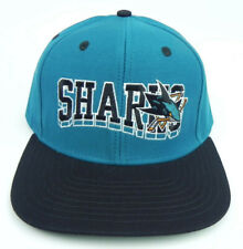 SAN JOSE SHARKS NHL VINTAGE SNAPBACK RETRO 2-TONE CAP HAT NEW! TEAL/BLACK REEBOK