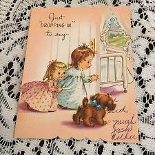 Vintage Greèting Card Get Well Cute Kids Dog