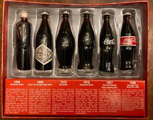 """EVOLUTION OF THE COCA COLA CONTOUR BOTTLE 6 MINIATURE 3"""" COKE BOTTLES"""