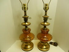 Vintage Midcentury 3-Way Amber Glass & Brass Table Lamps
