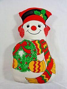 "Snowman Throw Pillow 14"" Handmade Red  with Green Wreath Christmas Decor"