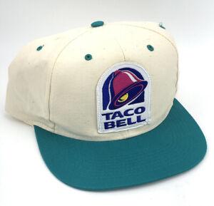 VTG 1990's Retro Taco Bell Patch Hat Cap Restaurant Employee Uniform Snapback X
