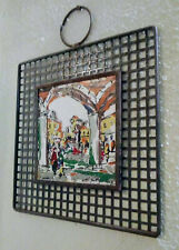 Metal Framed Painted Tile Art wall Hanging Decor 10 x 10