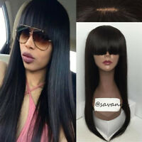 Brazilian Virgin Human Hair Full Lace Wigs With Bangs Lace Front Wigs Straight
