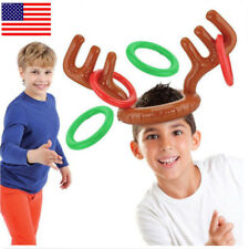 US! Christmas Inflatable Reindeer Antler Ring Toss Game Xmas Party Toy