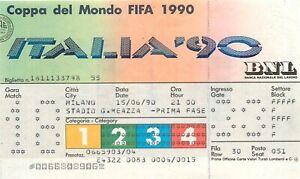 Calcio, Mondiali, Italia '90 - Biglietto partita Germania Emirati Arabi, Milano