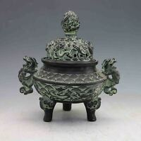 Collection Antiques Chinese Hand-carved Bronze Dragon Incense Burner & Lid