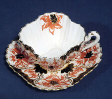 Antique JF Wileman China Tea Cup and + Saucer Set Red Flower + Black Gold Decor