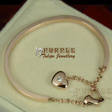 14CT 14K Rose Gold Plated Heart Bangle Bracelet Made With Swarovski Crystals