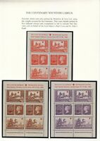 1940 CENTENARY SOUVENIR LABELS BY WATERLOW & SONS LTD, SET OF 5 ON 2 PAGES