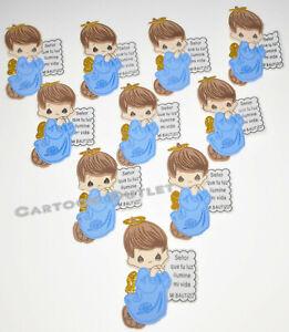 10 BLUE FOAM ANGEL Boy BAPTISM DECORATION CENTERPIECE RECUERDOS BAUTIZO LETTERS