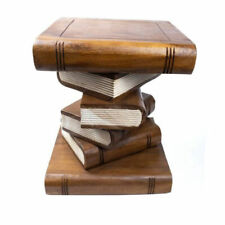 """Wooden Book Stack Stool Table Furniture 16"""" Natural Hand Carved Home Decor."""