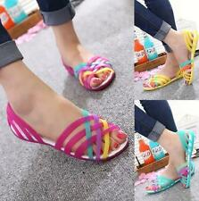 Hot Sale Women summer beach flat sandals open toe jelly colorful hollow shoes US