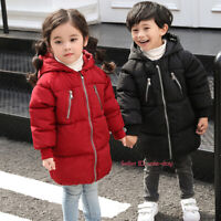 Kids Boys Girls Winter Warm Cotton Down Jacket Hooded Quilted Coat Long Parka