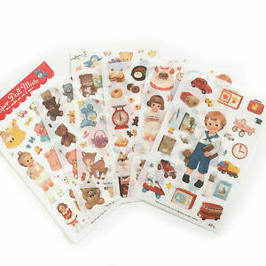 Dolly Girl PAPER DOLL MATE Dress Up Stickers Kawaii Vintage - Design 2 - Plastic