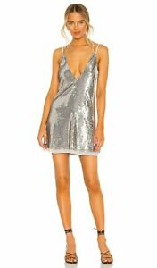New Free People Double Take Sequin Mini Dress In Metallic Silver Size XS Party