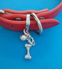 TIBETAN SILVER CUTE DOG BONE CHARM - Collar Charm. Bell. Puppy. Bling.Jewellery.