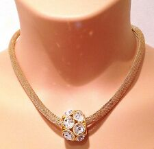 Ladies Gold Tone Faux Diamond Statement Charm Bead Necklace