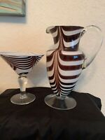 AMICI Blown Art Glass Martini Glass & Pitcher Brownish Black Swirl