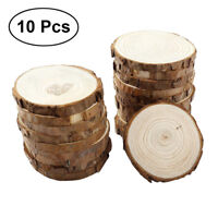 10Pc Unfinished Natural Round Wood Pieces Slices Circles Bark Log Disc DIY Craft
