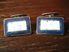 prächtige Art Deco Manschettenknöpfe mattes Emaille blau emailliert 835er Silber