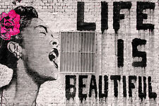 Life Is Beautiful by Banksy 36x24 Giclee Print Poster Urban Art Wall Decor