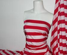 Hotpink/White Stripes Lycra/Spandex 4 way stretch Matt Finish Fabric