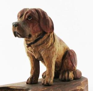 ANTIQUE CARVED WOOD DOG c1900 BLACK FOREST