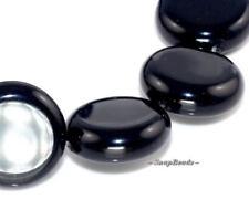 "INCREDIBLE BLACK ONYX GEMSTONE COIN LOOSE BEADS 7.5"""